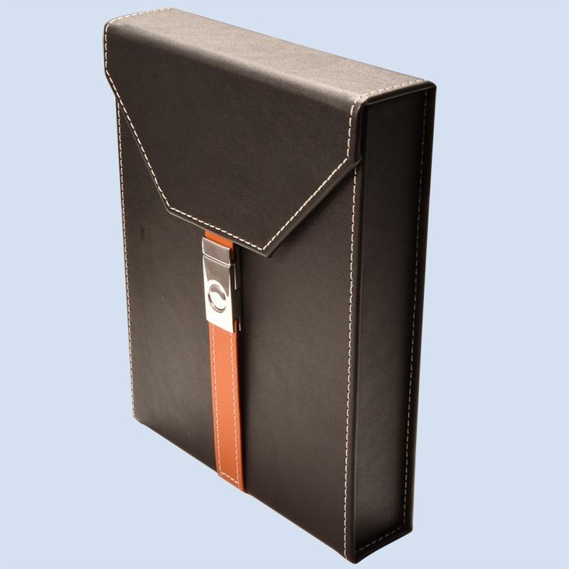 Handmade Black Cigar Box Humidor Leather Travel Case 9