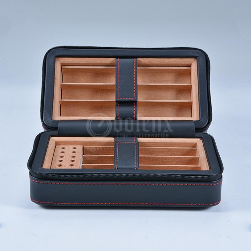 Custom Black Leather Humidor Case Travel Portable Cigar Humidor 7
