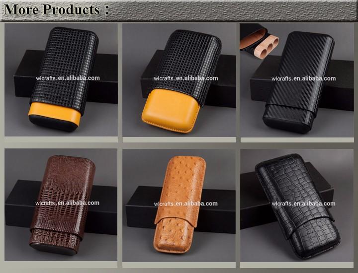 3 CT Travel Holder Black Leather Cigar Case 25