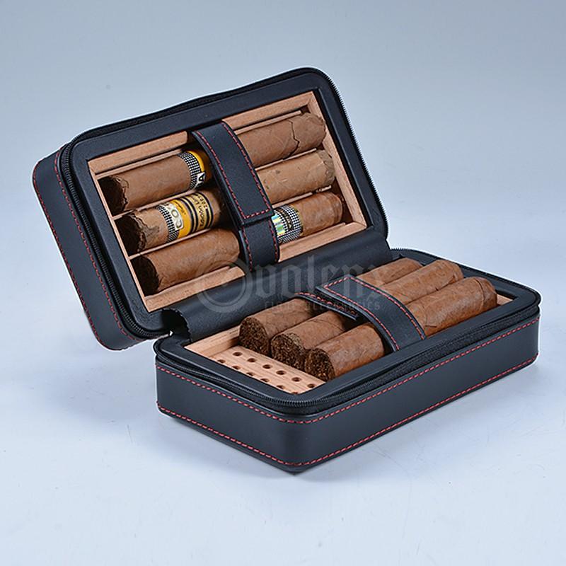 6 Cigars Black Shine PU Leather Cigar Case Factory Wholesale Travel Cigar Case 9