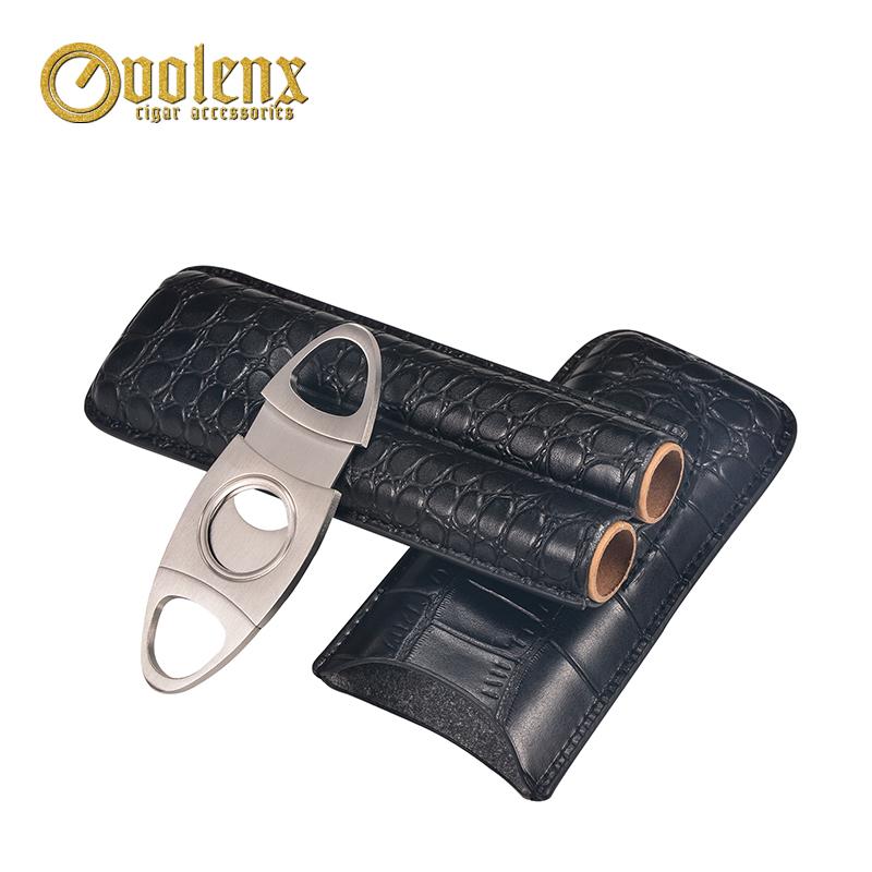 Wholesale-cutome-logo-black-leather-cigar-case