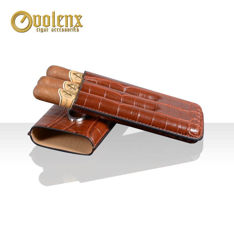 High quality leather 3 finger ciagr cutter pocket cigar case 5