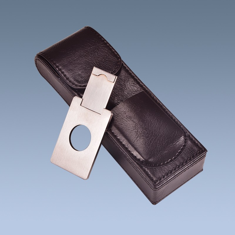 Factory-Best-Black-Leather-Cigar-Carrying-Case