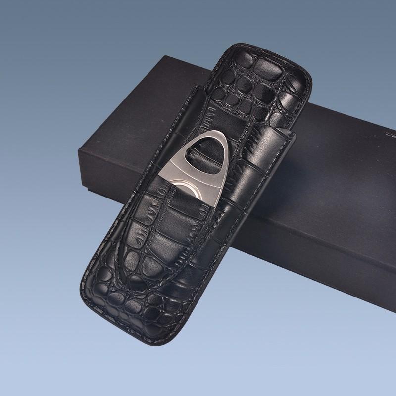 Custom Travel PU Crocodile Leather Cigar Case with Cutter