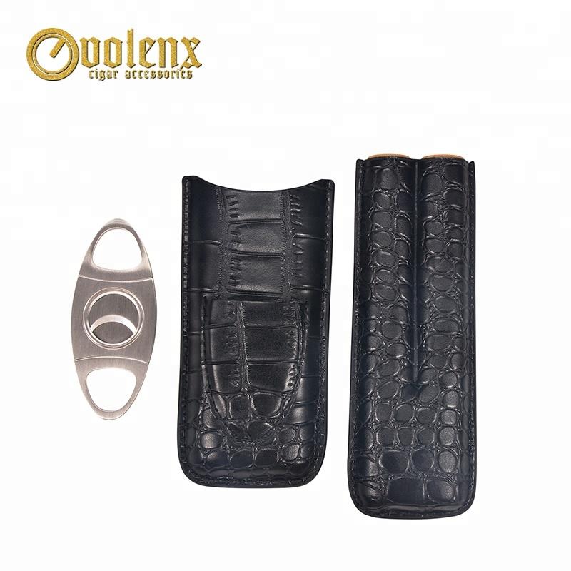 Custom-Travel-PU-Crocodile-Leather-Cigar-Case