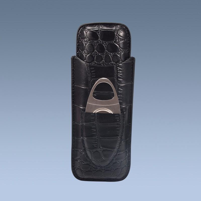 Custom Travel PU Crocodile Leather Cigar Case with Cutter 3