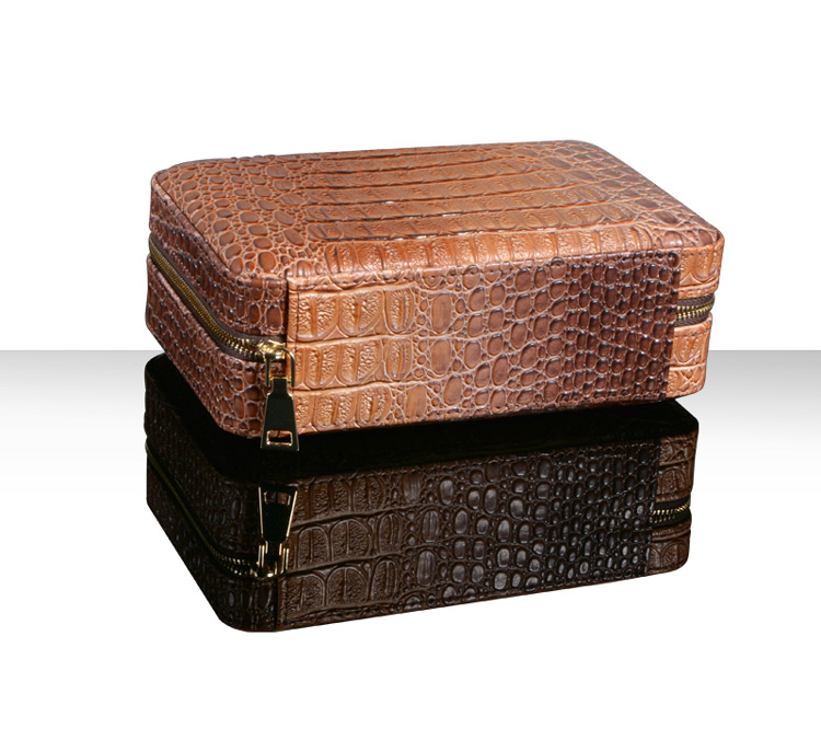Large Stock cigar accessories kit PU leather cigar case with cutter and lighter personalized