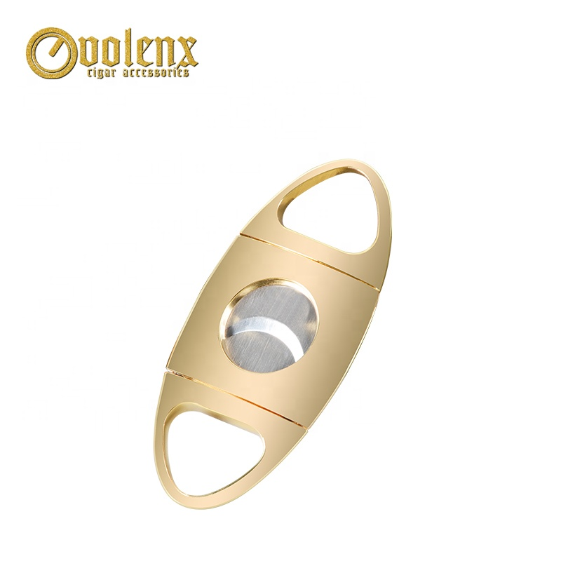 Custom Logo Gold Double Blade Stainless Steel Cigar Cutter 4