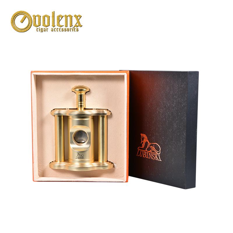 Custom Logo Gold Metal Guillotine Table Top Cigar Cutter 10