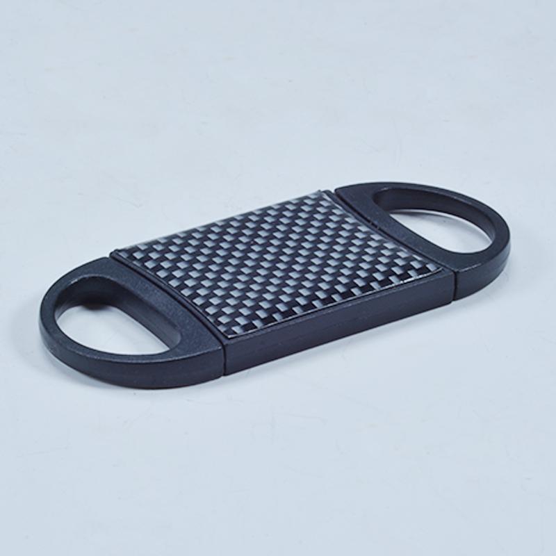Carbon fiber hole 2 blade plastic cigar cutter