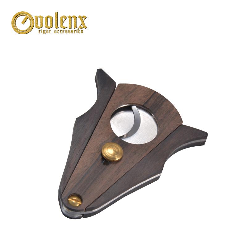 2019 cheap wholesale custom v cut wooden cigar cutter