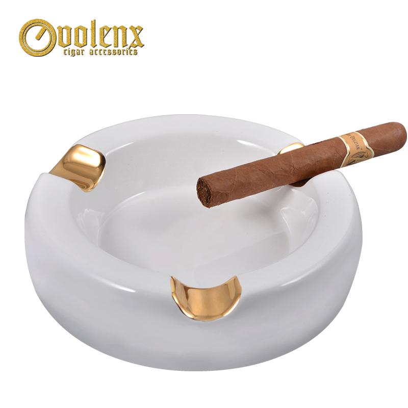 Wholesale high quality custom printing gold ashtray cigar ceramic
