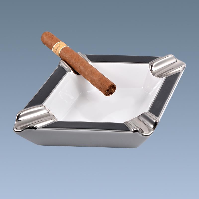 Custom logo wholesale ceramic cigar ashtray