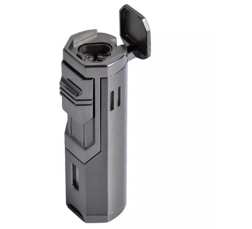Custom Logo Metal Body Windproof Triple Custom Torch Cigar Lighter with Punch