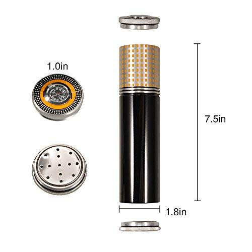Luxury personalized three cigars cigar tube with hygrometer