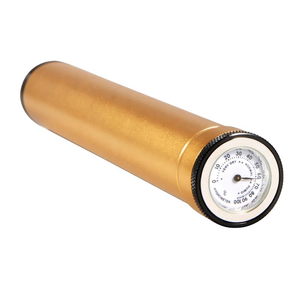 Custom Travel Gold Aluminum Cigar Tubes with Hygrometer
