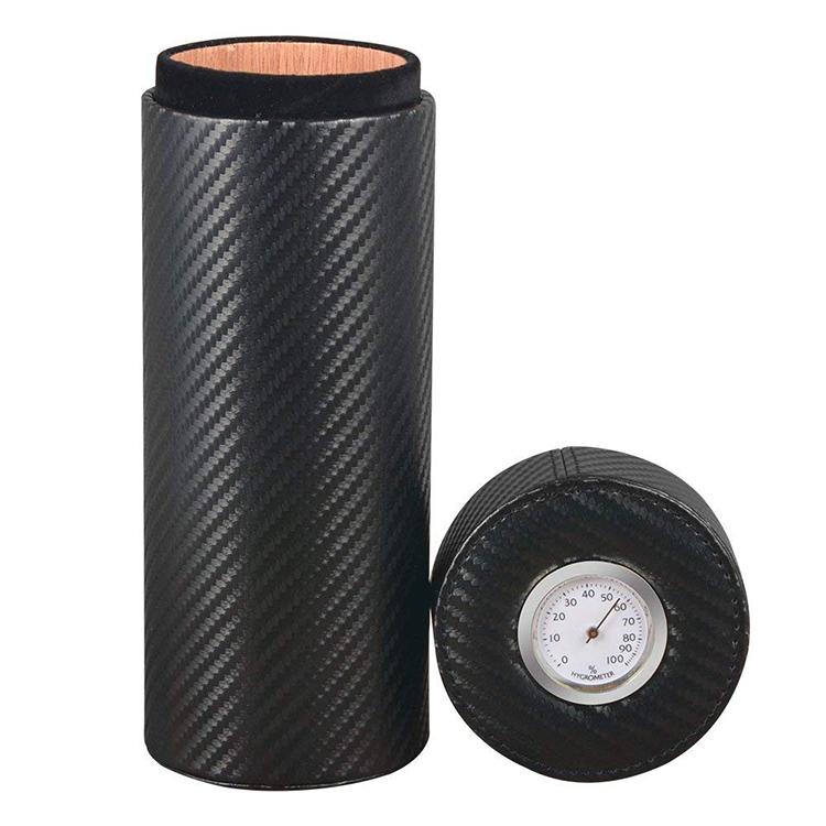 Wholesale black carbon fiber PU custom cigar tube