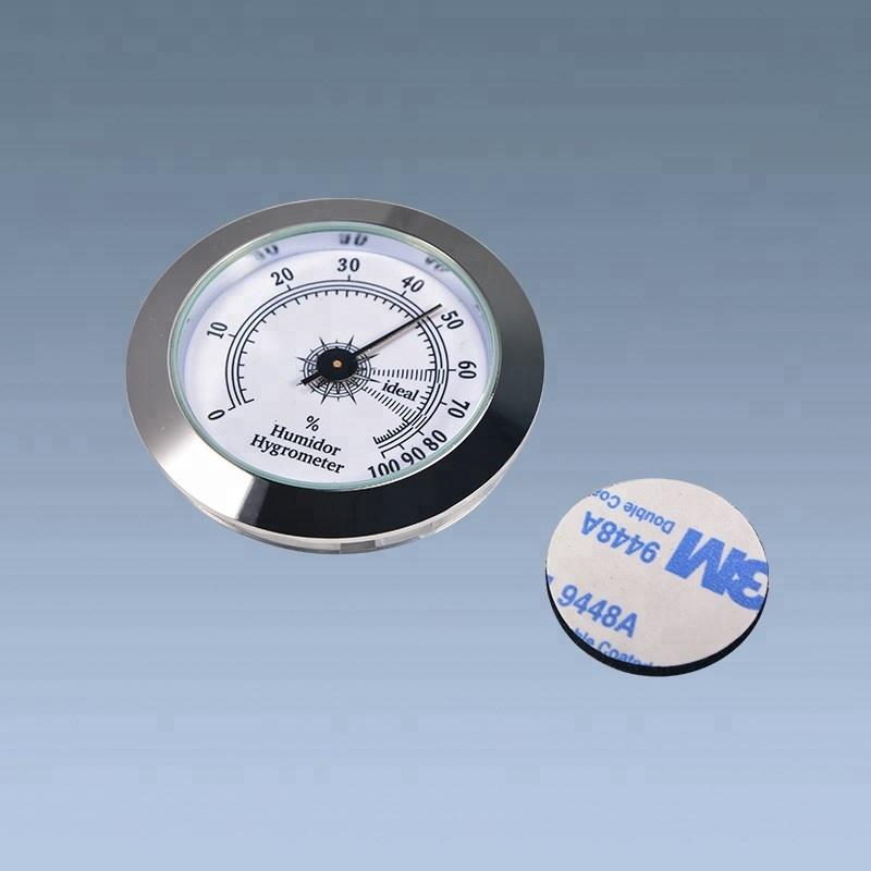 Silver Analog Top Sell Round Digital Cigar Hygrometer