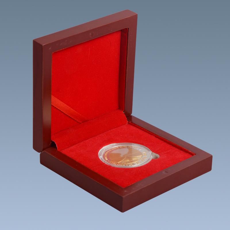 Home decor handmade craft red velvet wooden coin box