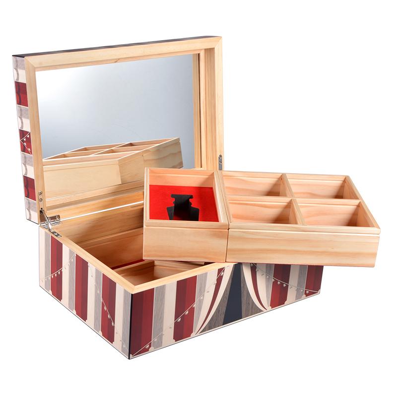 Custom photopaper matt pine wood jewelry storage box with mirror