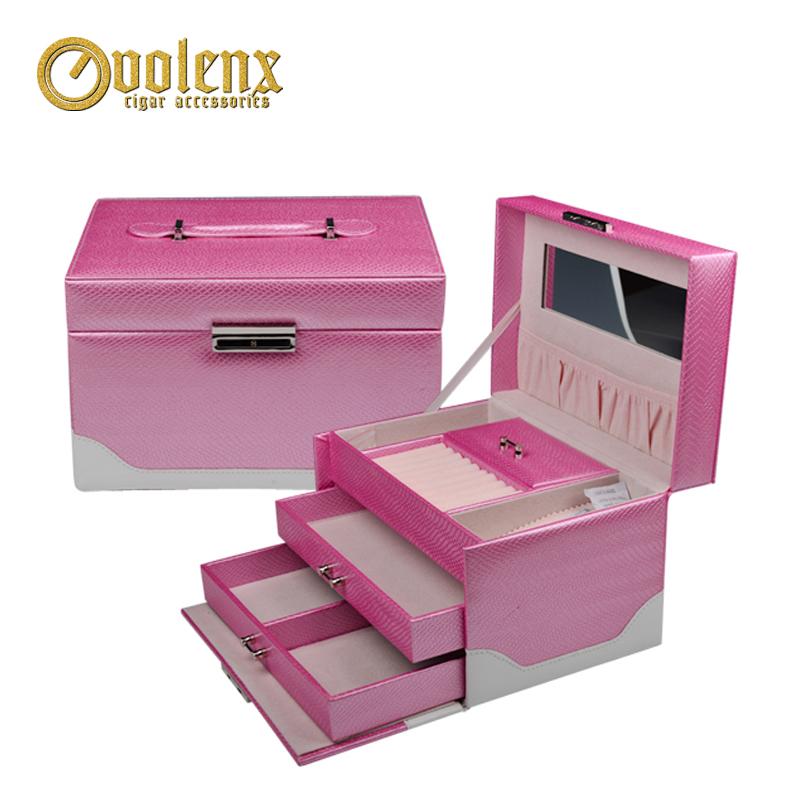 Manufacture Custom Color  PU Leather Jewelry Box