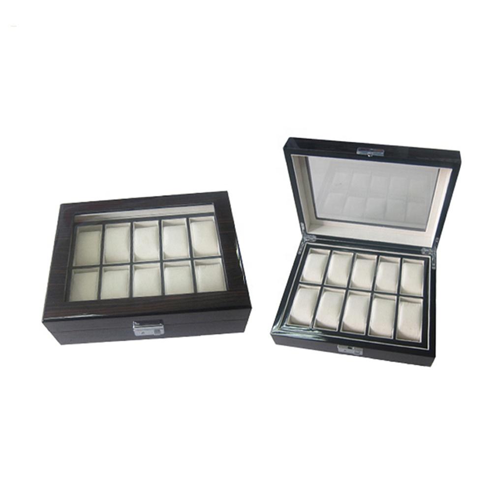 Custom Logo OEM Luxury 10 Slots Black Wooden Watch Box