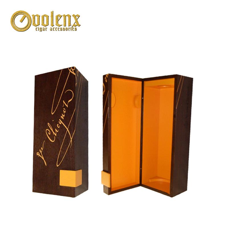Top quality Custom portable single bottle wooden wine box