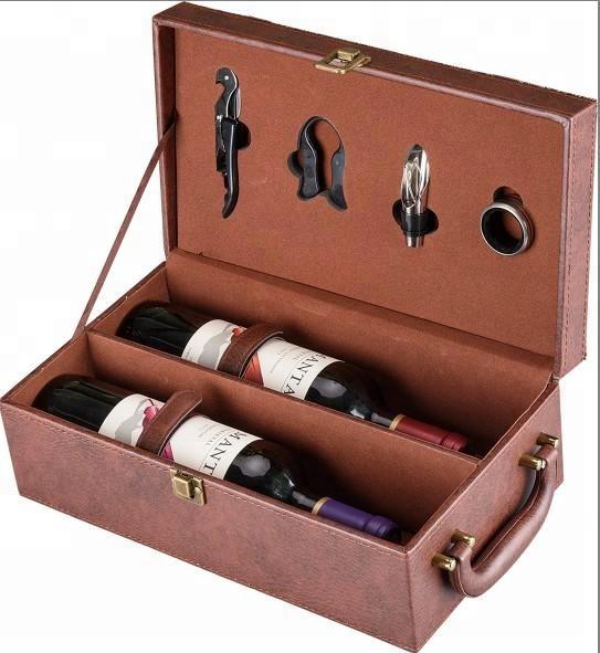 Two wine bottles wine set leather wine box