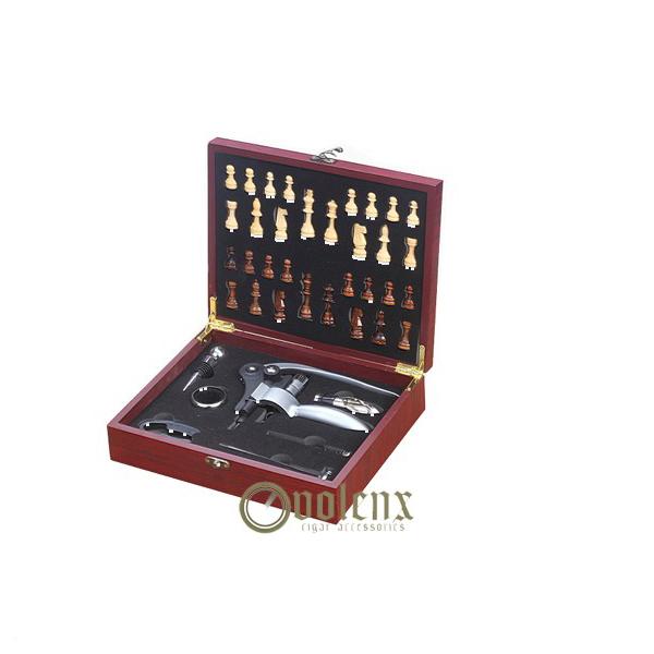 Premium engraved logo chessboard wooden box wine opener set