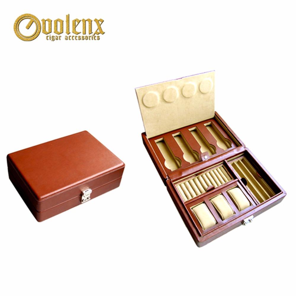 Custom Wooden Leather Red Storage Watch Jewelry Box