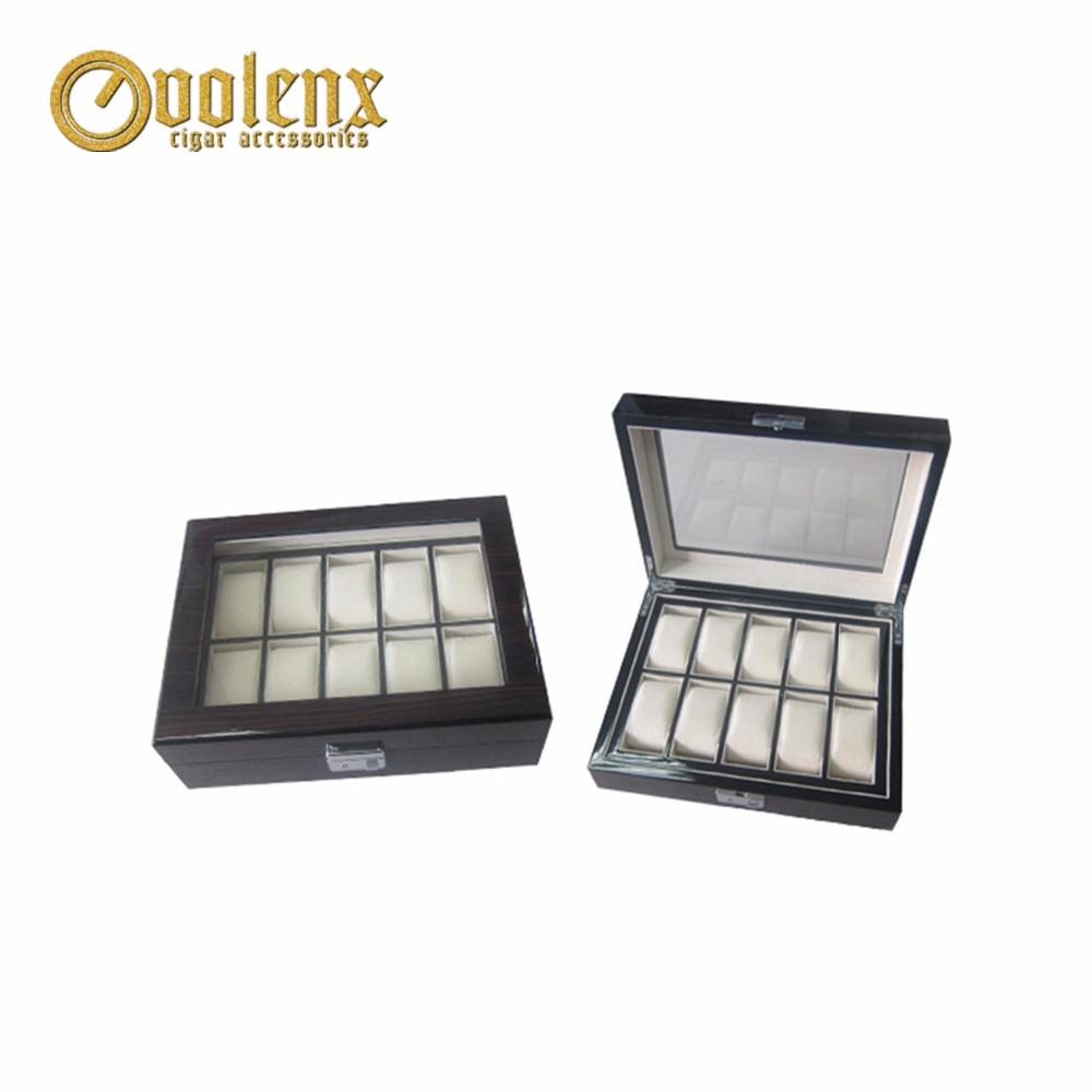 Black Matt wooden Jewelry boxes with glass window