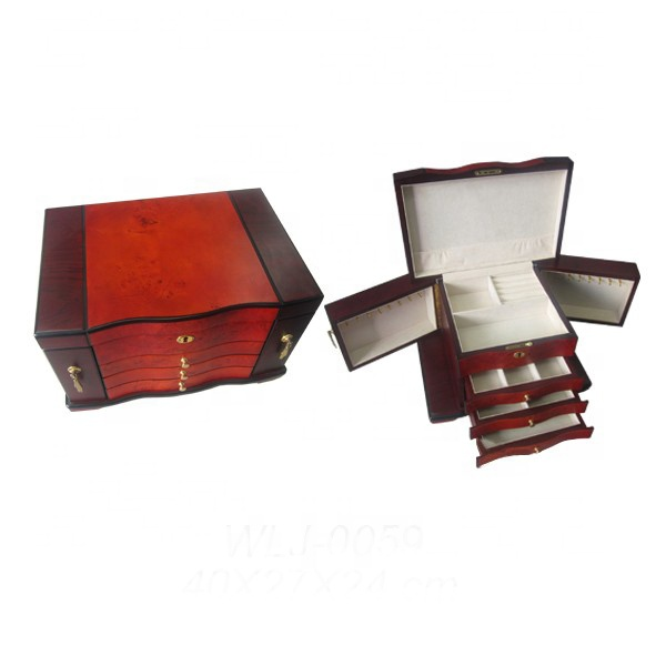 Vintage Wood mirrored Chest of Drawers Dresser Style Large Jewelry Box