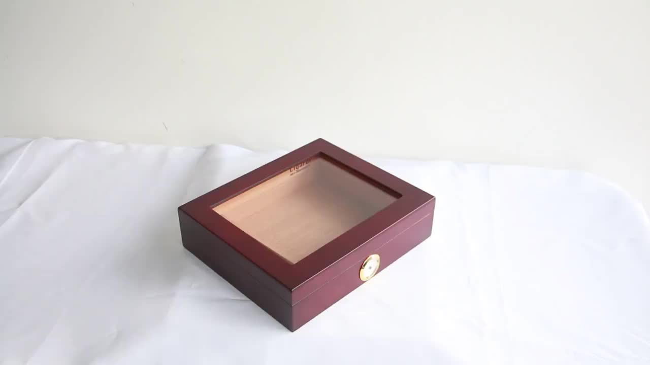 Cigar Humidor Hold 20-25 Cigars with Glasstop Cherry Matt Finished